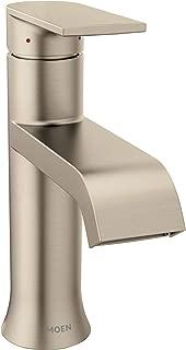 Moen 6702BN Genta One-Handle Single Hole Modern Bathroom Sink Faucet with Optional Deckplate, Brushed Nickel