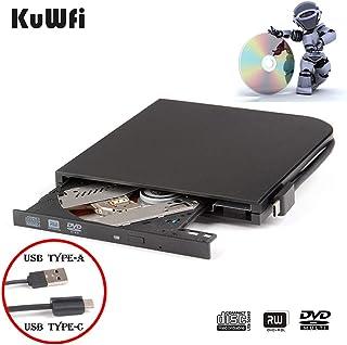 External DVD Drive Burner Player for Laptop USB3.0 Type-C Dual interfaces Portable Slim Automatic Slot-Loading CD/DVD-RAM ...