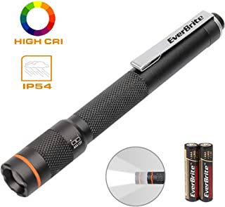 EverBrite Pen Light Flashlight - Pocket LED Penlight CRI>90, Adjustable Focus High Lumen Pen Flashlight, Portable & Waterproof Small LED Flashlights, Powered by 2 AAA Alkaline Batteries Included