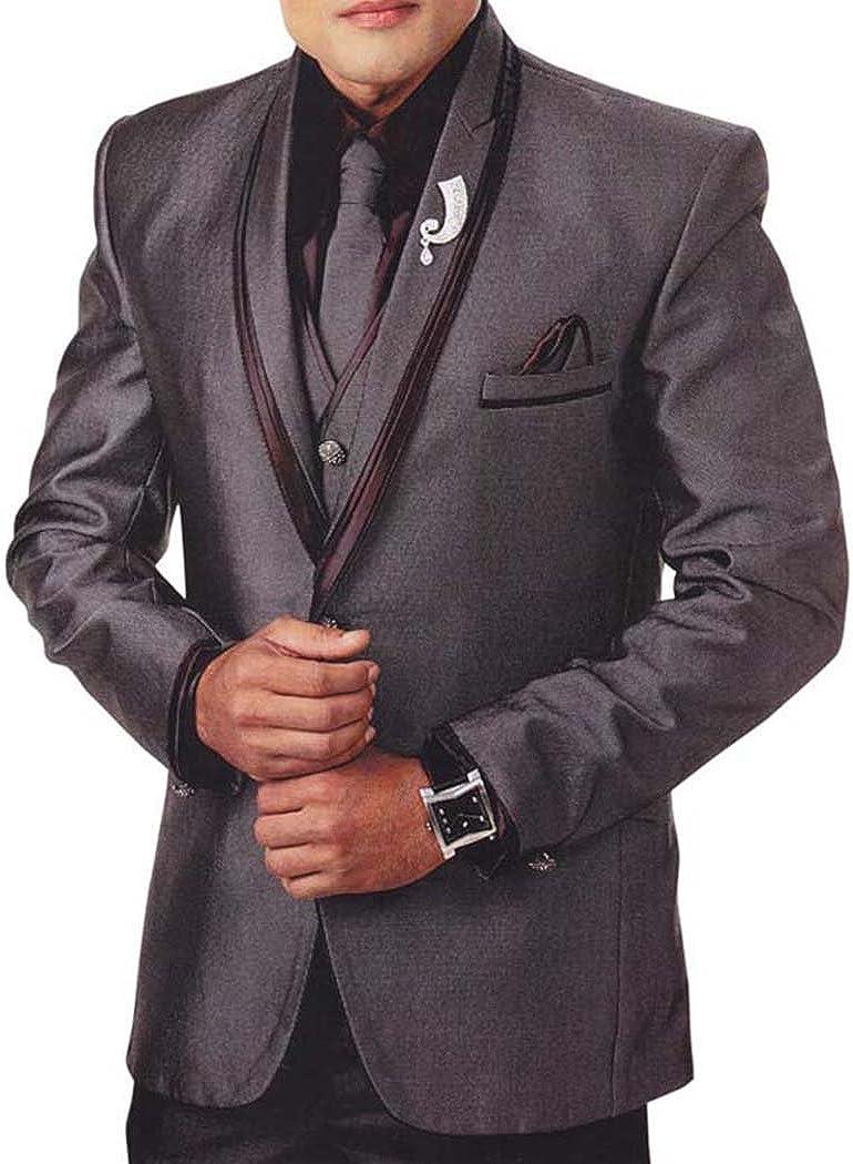 INMONARCH Mens Gray 7 Pc Tuxedo Suit V Neck Collar TX926