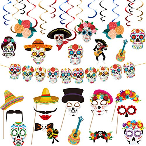 Outus 24 Pieces Day of The Dead Photo Booth Props Día de Los Muertos Skull Photo Prop Party Hanging Decor Party Swirls Decoration for Day of The Dead Halloween Birthday Fiesta Mexican Party Supplies