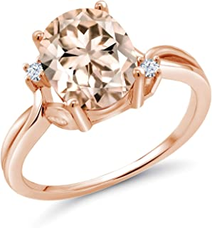 2.03 Ct Oval Peach Morganite White Created Sapphire 14K Rose Gold Ring