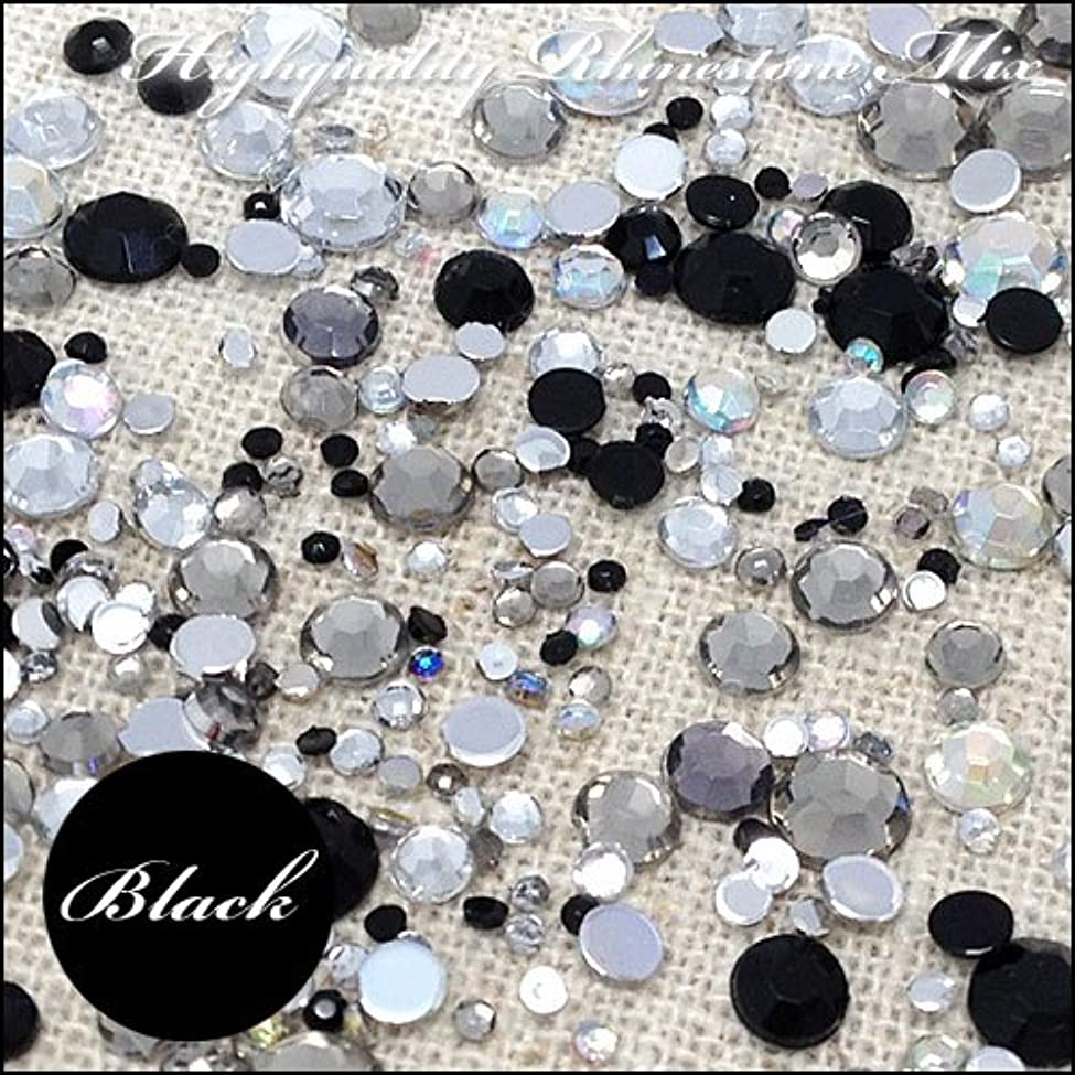 高品質ダイヤカットストーンカラー系パック「ブラック系」合計250個入り~1.5mm/2mm/3mm/4mm/5mm~
