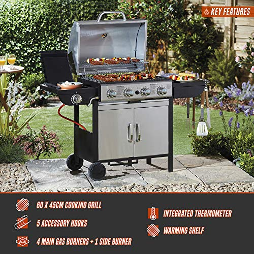 Blazebox Gas BBQ Grill 4 + 1 Side Burner, Stainless Steel Finish