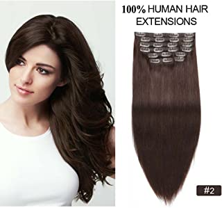 Clip on Hair Extensions Human Hair, Re4U 100% Remy Human Hair 14inch Grade 8A Quality Full Head Dark Brown Clip on Hair Extensions 10pcs (14