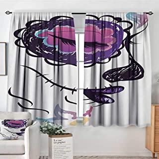 Mozenou Day of The Dead Custom Curtains Sugar Skull Girl Face with Make Up Hand Drawn Mexican Artwork Patterned Drape for Glass Door 72