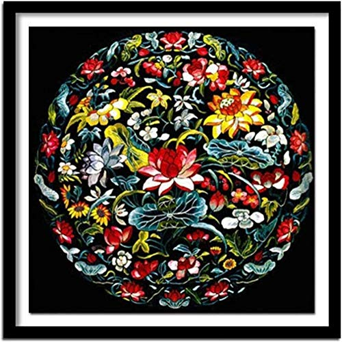 Stamped Cross Stitch Kits for Adults Beginner-Lotus,DIY Designs Cross-Stitch Easy Supplies Needlework,Needlepoint Embroidery Gift for Home Decor -16 20 inches