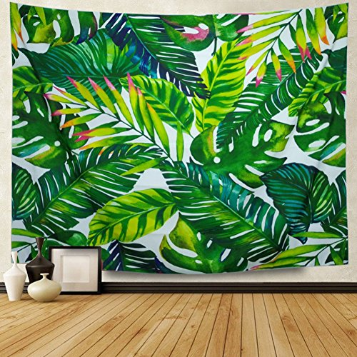 Heopapin Tapestry Palm Tapestry Wall Hanging Palm Tree Leaves Wall Tapestry Watercolor Leaf Print Tapestry Green Tropical Leaves Wall Hanging Banana Leaves Tapestry for Living Room Bedroom Dorm Deco