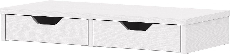 Bush Furniture Key West Desktop Organizer with Drawers, 27W, Pure White Oak