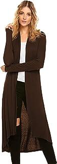 Women's Lightweight Long Sleeve Draped Open Front Long Maxi Cardigan Sweaters