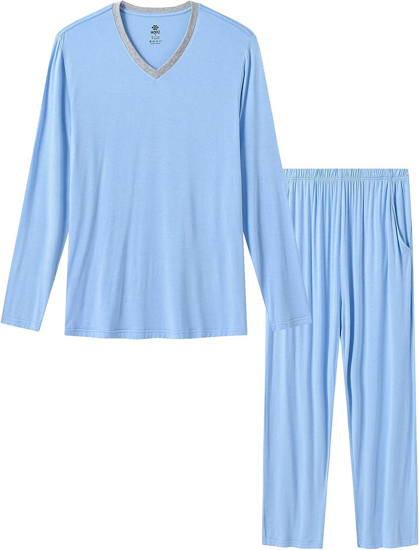 MoFiz Men's Pajama Sleep Sets Pajama Pant Comfortable Sleepwear PJs V-Neck Loungewear Long Pajama Pants &Tops