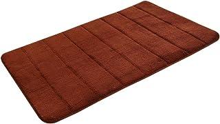 OUNONA Memory Foam Bath Mat Non Slip Absorbent Super Cozy Velvet Bathroom Rug Carpet (Coffee)