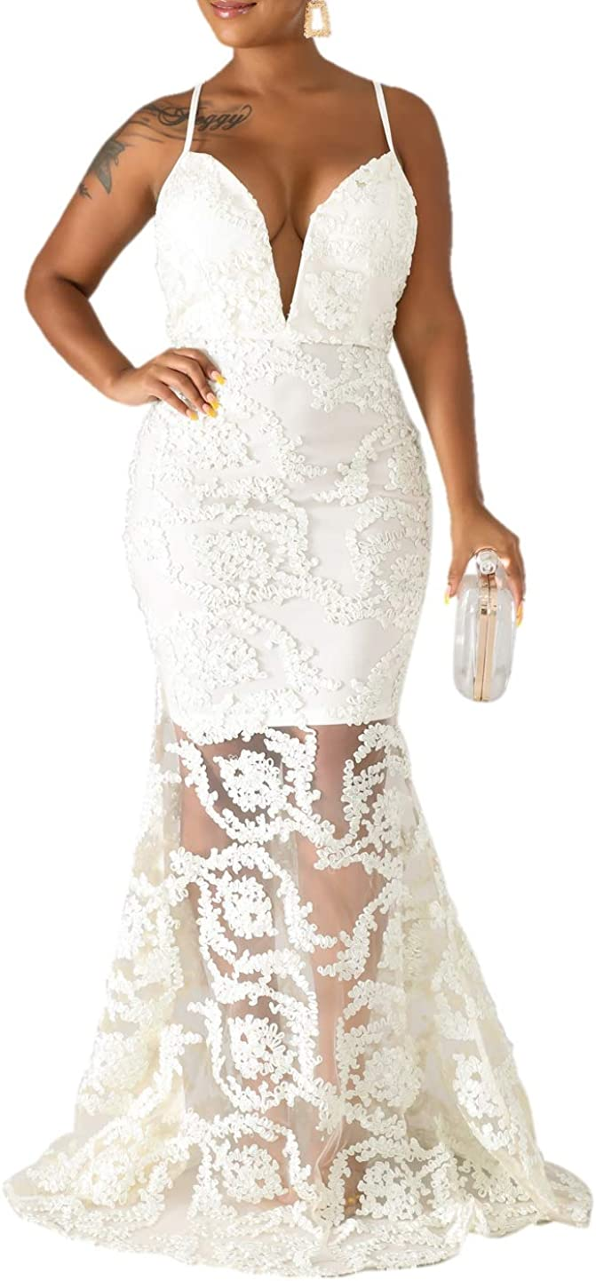 Sexy Spaghetti Strap Deep V Neck Swirl Mermaid Dress Slim Evening Maxi Party Dress