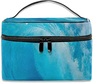 Wave Ocean Adventure Surf Extreme Water Sports Summer Vacation Destination Travel Makeup Bag Cosmetic Cases Organizer Portable Storage Bag For Cosmetics Makeup Brushes Toiletry Travel Accessories