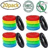 LXTIN 20 Pack Bracelets Anti-Moustiques, Waterproof Sûr Portable Ceinture Anti-Moustique pour Protection Enfants Adultes Extérieure Intérieure Répulsifs à Moustiques Naturels Huiles Essentielles