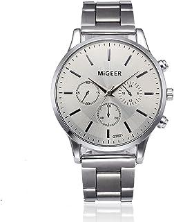 Bokeley Men's Watch, Watch Luxury Quartz Crystal Sport Stainless Steel Wrist Watch Men (Silver 4)
