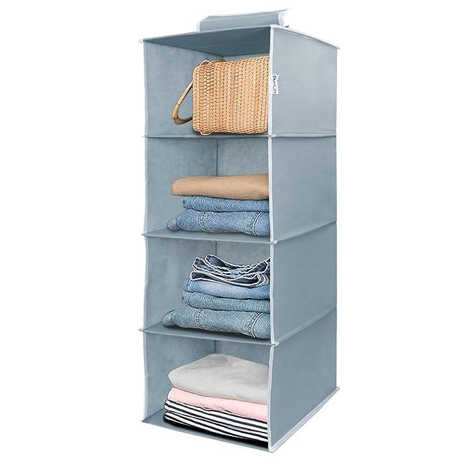 HOKIPO Hanging 4 Shelf Closet Cloth Organizer, 30 x 30 x 80 cm. Collapsible Wardrobe