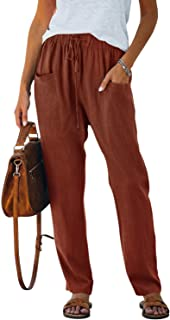 NIMIN Women's Casual Drawstring Elastic Waist Pants Soft Loose Fit Solid Pants Trousers with Pockets