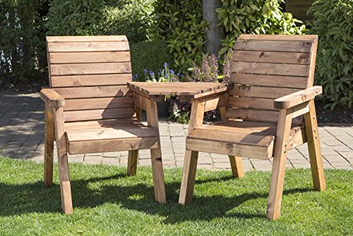 Charles Taylor Hand Made 2 Seater Chunky Rustic Wooden Garden Furniture Love Seat with Tray Assembled