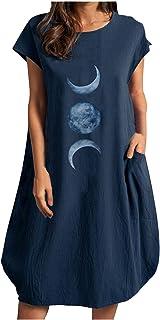 LADYSHOP فستان نسائي طباعة فستان كاجوال فستان فضفاض قصير الأكمام فستان جيب فستان صيفي أنيق