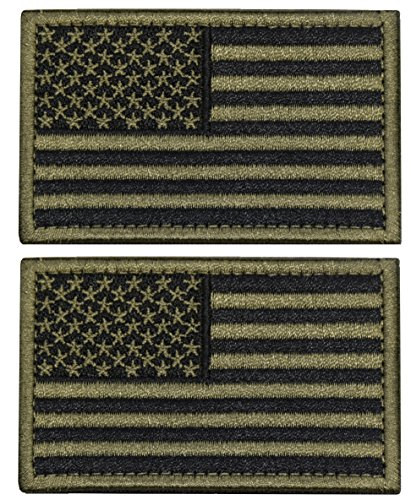 U-LIAN 2 PCS USA Flag Patch Tactical Morale Patch Embroidered American Flag Patch Hook Loop Fastener Backing Emblem,Army Green