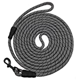 Mycicy Long Rope Leash for Dog Training 15FT 30FT 50FT, Check Cord Recall Training Agility Lead for Large Medium Small Dogs, Great for Training, Playing, Camping, or Backyard, Black 15 Foot