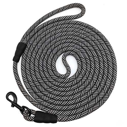 Mycicy Long Rope Leash for Dog Training 15FT 30FT 50FT, Check Cord Recall Training Agility Lead for Large Medium Small Dogs, Great for Training, Playing, Camping, or Backyard,Black 15 Foot