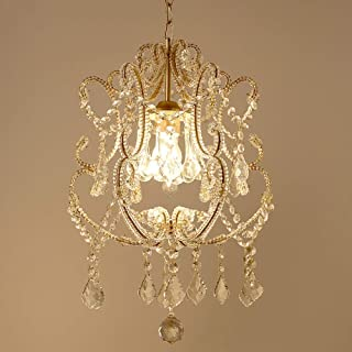 KUVV Perfect American Transparent Crystal Pendant Chandelier European Mediterranean Porch Aisle Corridor Stairs Living Room Bedroom Restaurant Study Vintage Antique Ceiling Light Champagne Gold