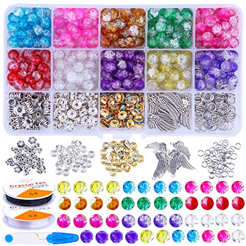 Candygirl 15 Colors Beads for Jewelry Making Gemstone Beads for Adults Crack Glass Beads for Women DIY Crafts Stone Beads Set and Elastic Thread and 1 Pair Scissors 530 Pieces