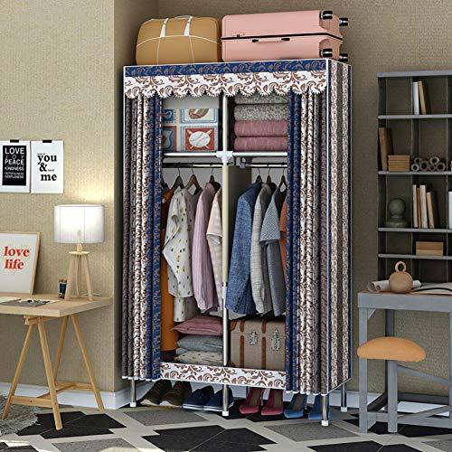 Vouwen garderobe, Double Stof Canvas kast - Tijdelijke kleding opslag met opknoping spoor (170 * 110 * 45),Gray