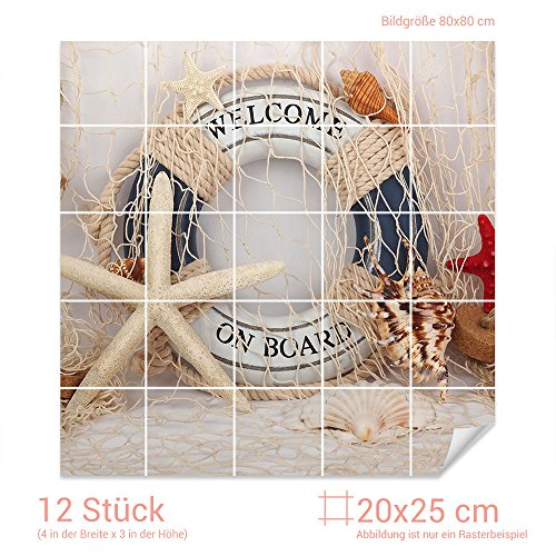 GRAZDesign Fliesenaufkleber See-Sterne/Rettungsring für Kacheln Bad-Fliesen mit Folie überkleben (Fliesenmaß 20x25cm (BxH) / Bild 80x80cm (BxH))