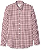 Amazon Brand - Goodthreads Men's Standard-Fit Long-Sleeve Wrinkle Resistant Comfort Stretch Poplin with Easy-Care, Burgundy Gingham, Medium