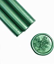 UNIQOOO Mailable Glue Gun Sealing Wax Sticks for Wax Seal Stamp - Metallic Botanical Green, Great for Wedding Invitations, Cards Envelopes, Snail Mails, Wine Packages, Gift Ideas, Pack of 8