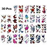 Goter 30 Fogli Adesivi Colorati 3D Tatuaggio temporaneo con Farfalla Fiore Design e Adesivi Impermeabili, Non tossici Tatuaggio Corpo Tatuaggi Dipinta a Mano Premium Decalcomania smontabile(D)