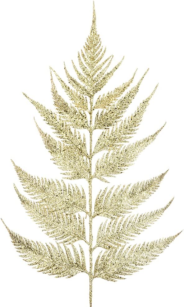 55cm Gold Glittered Leather Fern Cr Floristry Excellent for Stem Christmas New product!!