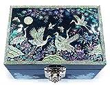 MADDesign RA-059 Jewelry Box Ring Organizer Hand Made Mother of Pearl Sea Shell Inlay Mirror Lid Crane Blue