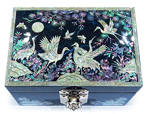 MADDesign RA-059 Jewelry Box Ring Organizer Hand Made Mother of Pearl Sea Shell Inlay Mirror Lid Crane Blue