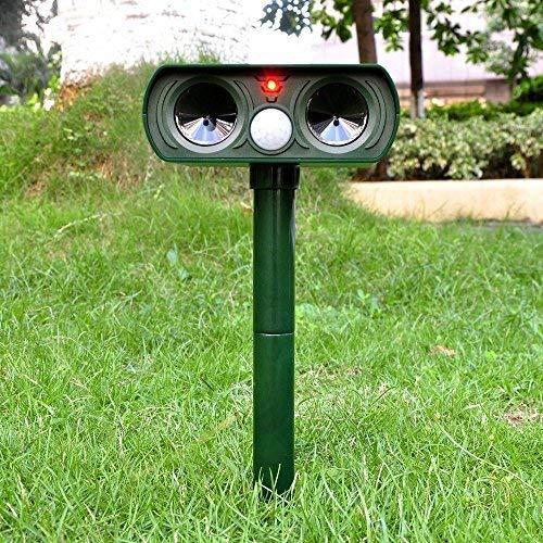 Muhoop Dog Repellent Ultrasonic Outdoor Solar Powered Animal Repeller Waterproof Pest Repellent Rodent Bird Cat Repellent with PIR Sensor Farm Garden Yard