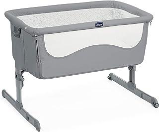 Chicco Next2Me Beistellbett Babybett Hellgrau Pearl mit Matratze, Abnehmbare Seite, Höhenverstellbar, Netzfenster, 2 Rollen und Transporttasche - 0-6 Monate, 9 kg