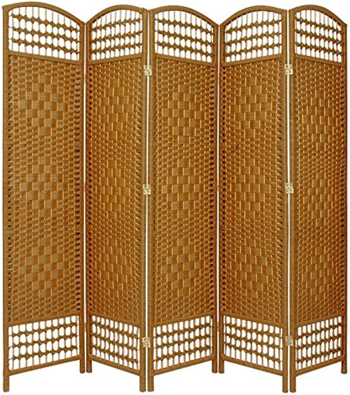 Oriental Furniture Cheap Best Good Quality Wide Room Divider, 5.5-Feet Open Diamond Weave Natural Fiber Folding Screen, Light Beige, 5 Panel Size