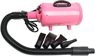 Pet Hair Grooming Dryer for Dogs & Cats with 4 Nozzles 2400W 3.2HP High Velocity 2 Speed Adjustable Temperature Pet Dog Cat Fur Grooming Hair Dryer - pink