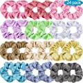 Tatuo 24 Pieces Shiny Metallic Scrunchies Hair Scrunchies Elastic Hair Bands Scrunchy Hair Ties Ropes for Women or Girls Hair Accessories, Large