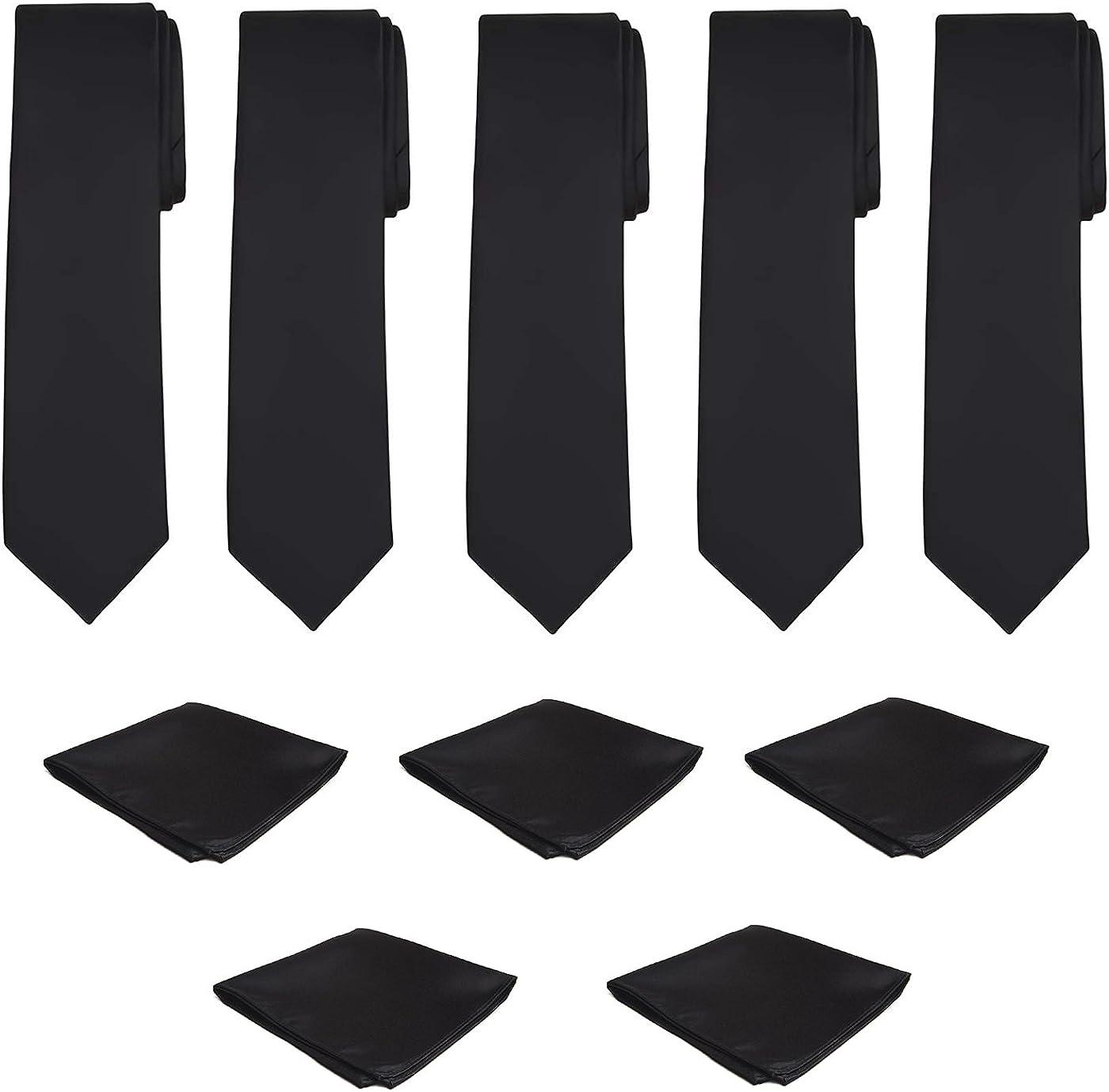 Mens Necktie Pocket Square 10 Pcs Set Solid Color Tie and Handkerchief for Wedding