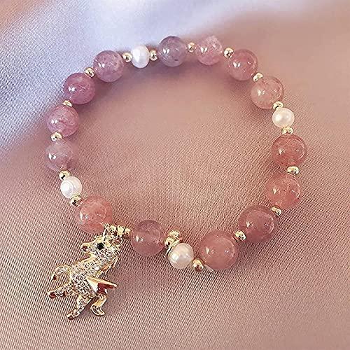 Feng Shui Perle Armband Natürliches Kristallarmband für Heilung Strawberry Quarz W / Natürliche Perlen Spirit Tier Anhänger Chakra Steine Glück Charme Armband Urlaub Schmuck für Frauen Freund Amulet