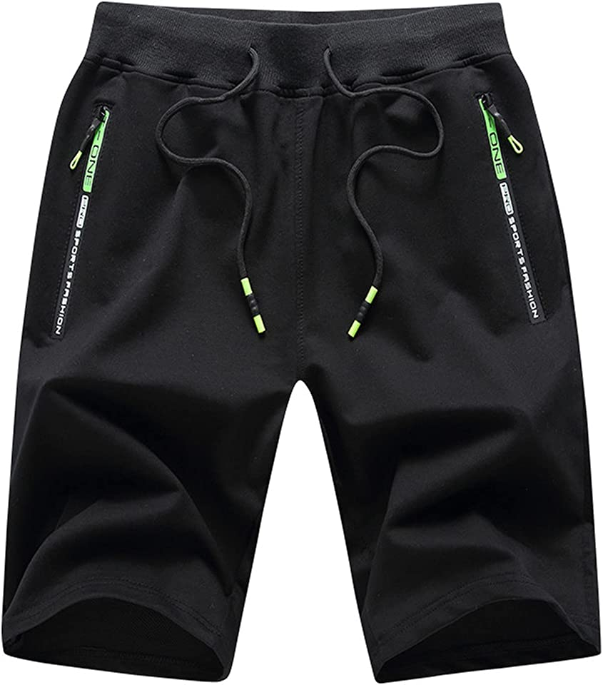 LINKIOM Men's Gym Shorts Quick Dry Lightweight Training Running Jogger Zipper Pockets