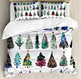 Ambesonne Christmas Duvet Cover Set, Watercolor Christmas Theme Fir Trees Abstract Silhouettes Illustration, Decorative 3 Piece Bedding Set with 2 Pillow Shams, King Size, Green Seafoam
