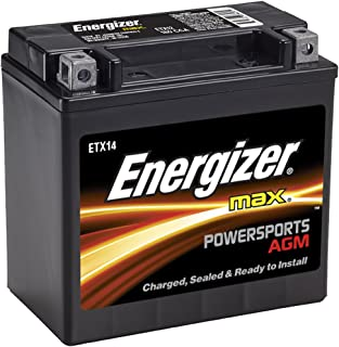 Energizer ETX14 AGM Motorcycle and ATV 12V Battery, 200 Cold Cranking Amps and 12 Ahr. Replaces: YTX14-BS and others