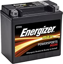 Energizer ETX14 AGM Motorcycle and ATV 12V Battery, 200 Cold Cranking Amps and 12 Ahr.  Replaces: YTX14-BS and others,Black