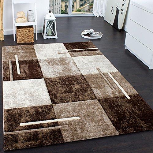 Paco Home Designer Teppich Modern mit Konturenschnitt Karo Muster Marmor Optik Braun Creme, Grösse:120x170 cm