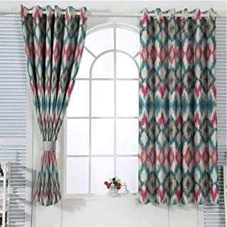 Mozenou Ikat DIY Grommet Curtain for Living Room Style Tied Knotted Triangle Figure Handmade Effect Traditional Boho Design Décor Darkening Curtains 63